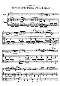 Keler - The Son Of the Puszta op.134 for violin - Piano part - first page