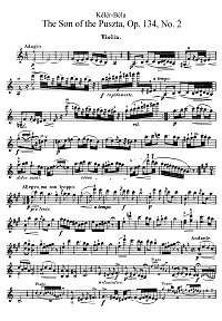 Keler - The Son Of the Puszta op.134 for violin - Instrument part - first page