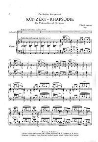 Khachaturian - Concerto-Rhapsody for Cello and Orchestra (1963) - Piano part - first page