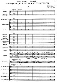 Kollontay - Viola Concerto (Orchestral score) - Piano part - first page