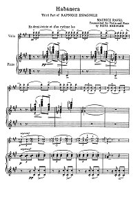 Ravel - Habanera for violin (Kreisler) - Piano part - First page