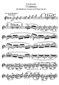Kreisler - Three cadenzas for Beethoven concerto D-dur - Instrument part - First page