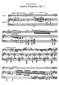 Kreisler - Viennese caprice for violin - Piano part - First page