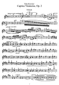 Kreisler - Viennese caprice for violin - Instrument part - First page