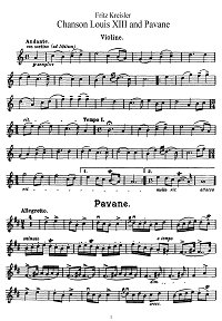 Kreisler - Song and Pavane in Couperen's style for violin - Instrument part - First page