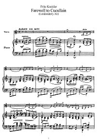Kreisler - London's air for violin - Piano part - First page