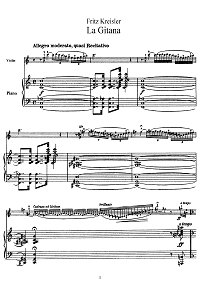 Kreisler - La Gitana for violin - Piano part - First page
