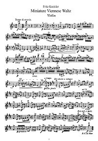 Kreisler - Small viennese march for violin - Instrument part - First page