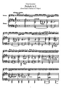 Kreisler - Prelude E-dur (from Bach partitas) - Piano part - First page