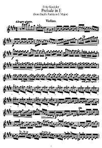 Kreisler - Prelude E-dur (from Bach partitas) - Instrument part - First page
