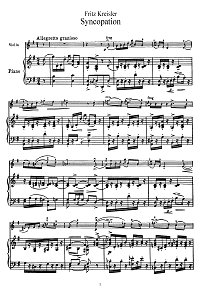 Kreisler - Syncopas for violin - Piano part - First page
