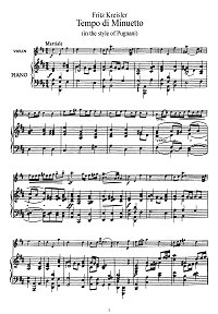 Kreisler - In tempo di menuetto (Pugniani) - Piano part - First page