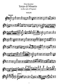 Kreisler - In tempo di menuetto (Pugniani) - Instrument part - First page