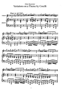 Kreisler - Variations on theme Corelli for violin - Piano part - First page
