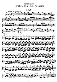 Kreisler - Variations on theme Corelli for violin - Instrument part - First page