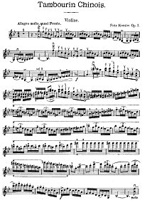Kreisler - Tambourine for violin op.3 - Instrument part - First page