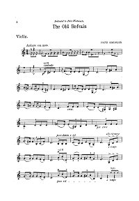 Kreisler - An old song for violin - Instrument part - First page