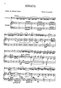 Locatelli - Cello Sonata - Piano part - first page