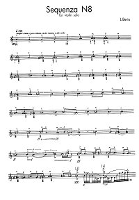 Berio Luciano - Sequenza N8 for violin solo - Instrument part - first page