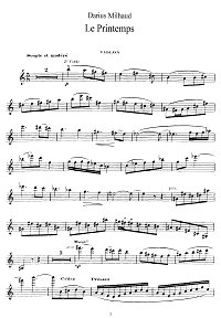 Milhaud - Spring for violin and piano - Instrument part - First page