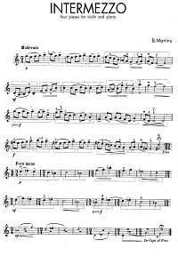 Martinu - Intermezzo - 4 pieces for violin - Instrument part - first page