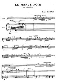 Messiaen - Le Merle Noir for flute and piano - Piano part - first page