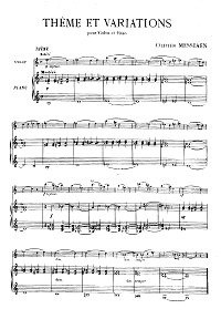 Messiaen - Theme with variations for violin - Piano part - first page