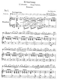 Monuschko - Romance for cello and piano - Piano part - First page