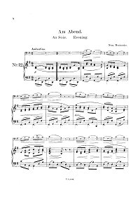 Monuschko - Evening song for cello and piano - Piano part - First page