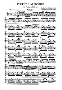 Novacek - Perpetuum mobile - for violin and piano- Instrument part - First page