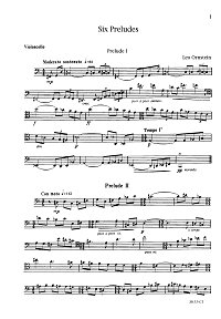 Ornstein - 6 preludes for cello - Instrument part - first page