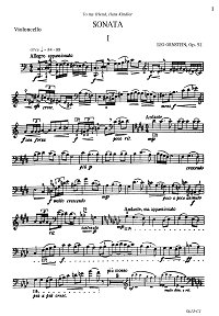 Ornstein - Cello Sonata N1 op.52 - Instrument part - first page