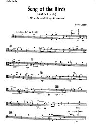 Pablo Casals - Bird's song for cello and orchestra - Instrument part - First page