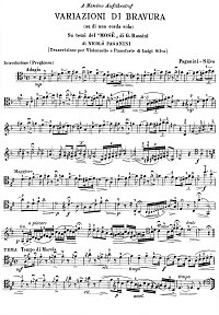 Paganini - Cello Variations on a Theme from Mose (Silva) - Instrument part - first page