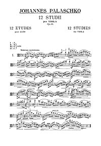 Palaschko - 12 studies for viola op.62 - Instrument part - first page
