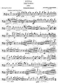 Pergolesi - Aria for cello and piano - Instrument part - first page