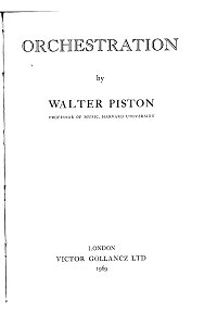 Piston Walter - Orchestration (1969) - Instrument part - first page