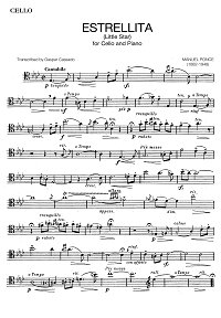 Ponce - Estrellita for cello and piano - Instrument part - first page