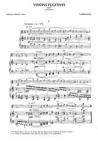 Prokofiev - Visions fugitives, Op.22 for violin and piano - Piano part - first page