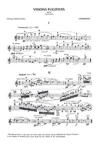 Prokofiev - Visions fugitives, Op.22 for violin and piano - Instrument part - first page