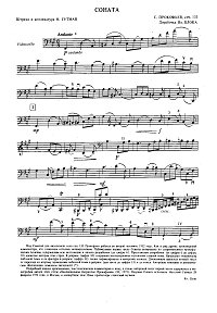 Prokofiev - Cello sonata solo op.133 - Instrument part - first page
