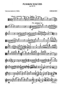 Prokofiev - Pushkin waltzes for viola op.120 - Viola part - first page