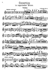 Rieding - Concertino for violin in Hungarian style op.21 - Instrument part - First page
