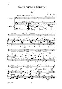 Raff - Violin sonata N. 1 Op. 73 - Piano part - first page