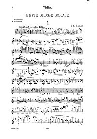 Raff - Violin sonata N. 1 Op. 73 - Instrument part - first page