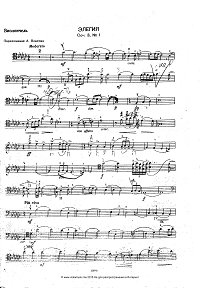 Rachmaninov - Elegia for cello and piano - Instrument part - First page