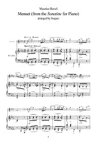 Ravel - Menuet for violin - Piano part - First page