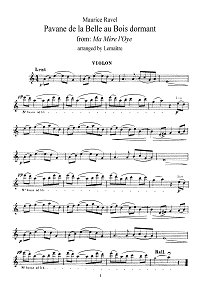 Ravel - Pavane for violin - Instrument part - First page