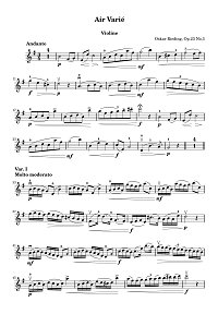 Rieding - Air Varie for violin op.23 N3 - Instrument part - First page
