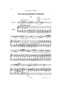 Rubinstein - Three pieces for cello and piano op.11 - Piano part - first page